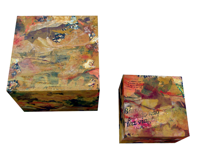 [ installation ] | collage, oil, enamel, resin on . boxes | from 40 x 40 x 30 cm to 25 x 25 x 20 cm